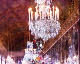 Chandelier Photography, Hall of Mirrors Paris Photo, Versailles Photography, Pink Paris Chandelier, Romantic Art,