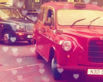 London Photography, London Taxi, London Photo, London Art, VIntage Taxi, Heart Bokeh
