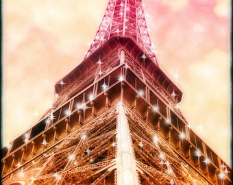 Eiffel Tower Paris Photography, Pink Paris, Pink Eiffel Tower, Retro Paris Photo, Starry,  Eiffel Tower Pink, Gift Idea, Under 25