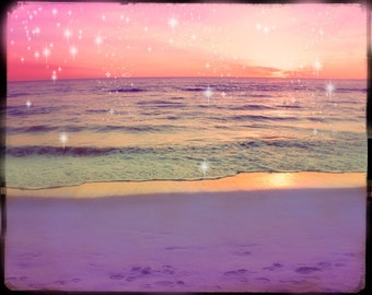 Ocean Sunset Photography, Pink Ocean Photography, Pink Beach Decor, Pink Sunset, Whimsical, Starry Lights