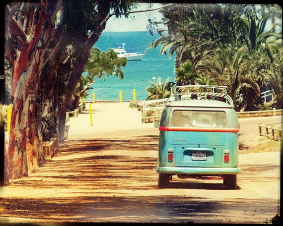 Vw Bus Art, VW Bus Photography, Surfing Wall Art, Retro VW Bus Art, Beach Wall Art, California Art Print, Catalina Island, Surfing Wall Art