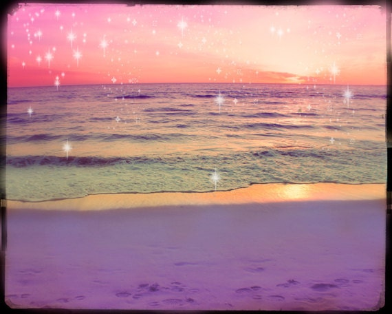 Ocean Sunset Photography, Pink Ocean Photography, Pink Beach, Pink Sunset, Whimsical, Starry Lights