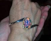 Silver Cuff Bracelet with Vintage Stone