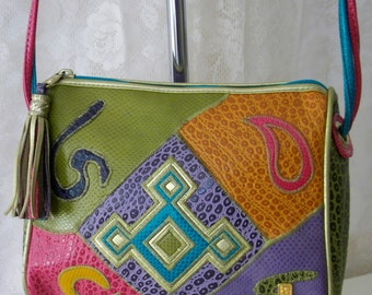 Vintage 1970s Colorful NAS Cross Body Purse MINT