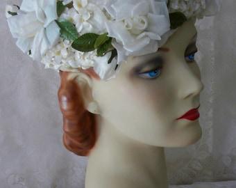 Vintage 1950s Gorgeous White Rose & Hydrangea Garden Party Hat