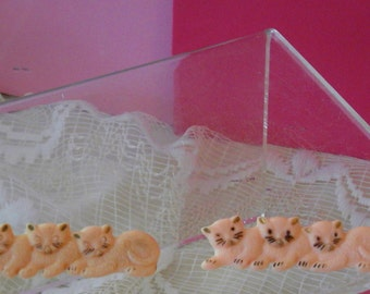 Vintage 1950s Little Girls Barrettes Pink Plastic Three Little Kittens Pair