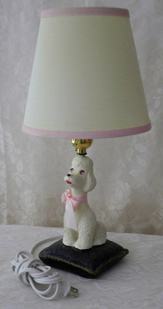 Vintage Chalkware White Poodle Desk Lamp Pink By
