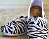 Handpainted Zebra TOMS Shoes