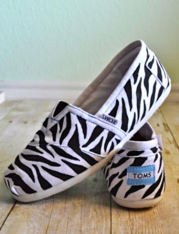 Handpainted Zebra TOMS Shoes