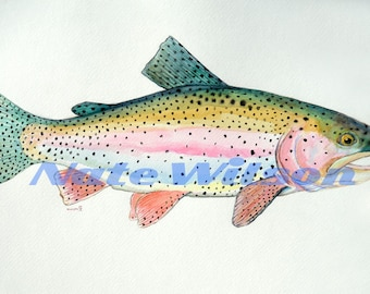 """Rainbow Trout Watercolor- 12' x 18"""""""