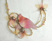 spring fashion jewelry Rustc Bird - linen, glass beads, river pearls, chiffon necklace - winter garden necklace