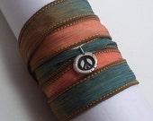 Fine Silver Peace Sign Silk Ribbon Wrap Bracelet