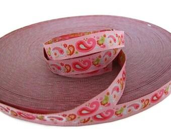 Paisley Pink Woven Ribbon - 1 Yard
