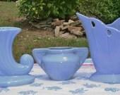 TREASURY ITEM!! 3 Beautiful Cornflower Blue Vintage Vases....2 possibly McCoy