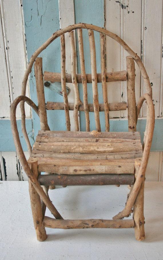 Vintage Adirondack Style Miniature Twig Chair