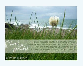 The Lord Will Provide | troubles assail and dangers affright, friends should all fail | Inspirational Christian Hymn Wall Art Canvas