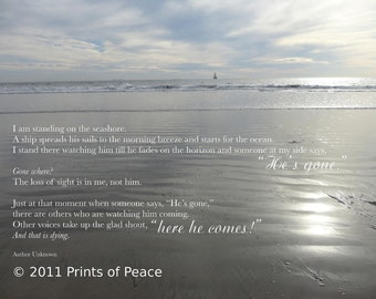 Gone Where | Sympathy Print | 11 x 14 (or larger) Ocean Beach Print, Framed, Frameless or Inspirational Canvas