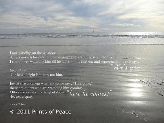 Gone Where   Sympathy Print   11 x 14 (or larger) Ocean Beach Print, Framed, Frameless or Inspirational Canvas