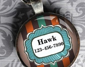 Pet iD Tag blue orange and brown colorful round Dog Tag 35mm round -  by California Mutts