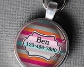 Pet iD Tag multi-colored striped colorful round Dog Tag round -  by California Mutts