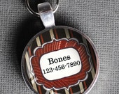 Red white and black striped Pet iD Tag colorful round Dog Tag 35mm round -  by California Mutts