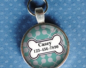 Pet  Tag iD blue and grey patterned colorful round Dog Tag 35mm round -  by California Mutts
