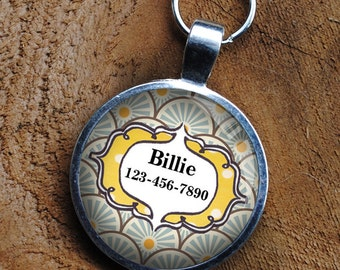 Pet iD Tag yellow and blue patterned colorful round Dog Tag 35mm round -  by California Mutts