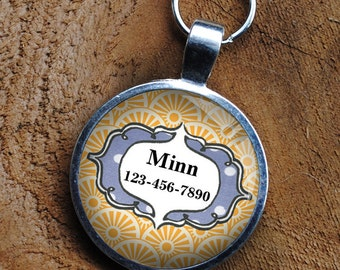 Pet Tag yellow and grey patterned colorful  pet iD round Dog Tag 35mm round -  by California Mutts