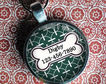 Pet iD Tag green patterned colorful round Dog Tag 35mm round -  by California Mutts