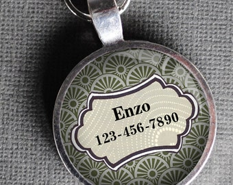 Pet iD Tag light olive green/grey patterned colorful round Dog Tag 35mm round -  by California Mutts dog tags