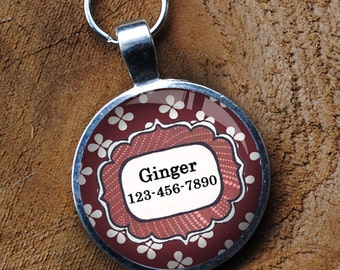Pet iD Tag magenta and white patterned colorful round Dog Tag 35mm round -  by California Mutts