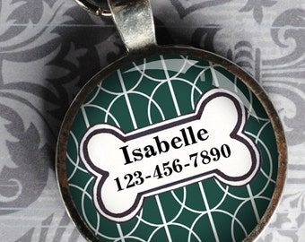 Pet iD Tag green and white patterned colorful round Dog Tag 35mm round -  by California Mutts