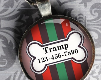 Pet iD Tag green red and brown striped colorful round Dog Tag 35mm round -  by California Mutts