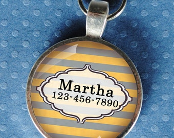 Pet iD Tag yellow and grey striped colorful round Dog Tag 35mm round -  by California Mutts
