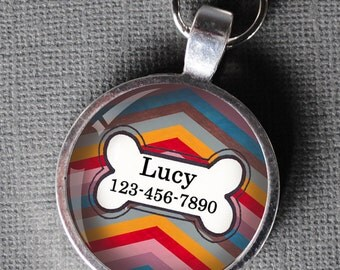 Pet iD Tag rainbow striped colorful round Dog Tag 35mm round -  by California Mutts
