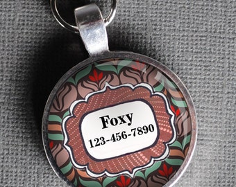 Pet iD Tag red and brown floral round Dog Tag Cat Tag by California Mutts