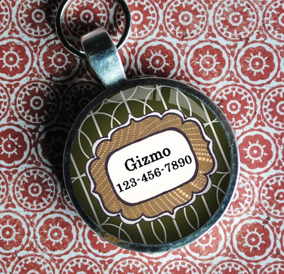 Pet iD Tag olive green and brown patterned colorful round Dog Tag 35mm round -  by California Mutts