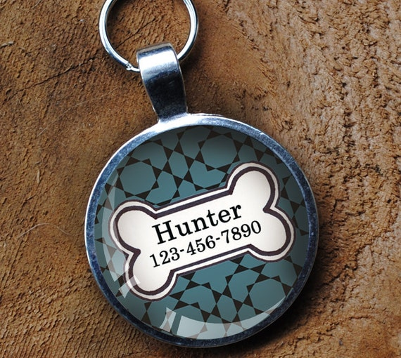 Smokey blue Pet iD Tag colorful round Dog Tag 35mm round -  by California Mutts