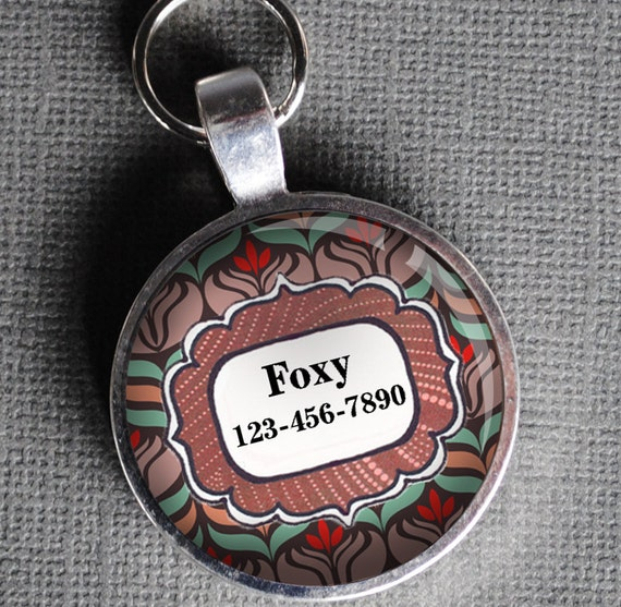 Pet iD Tag red and brown floral round Dog Tag by California Mutts