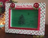 Hand Painted Peace On Earth Christmas Frame