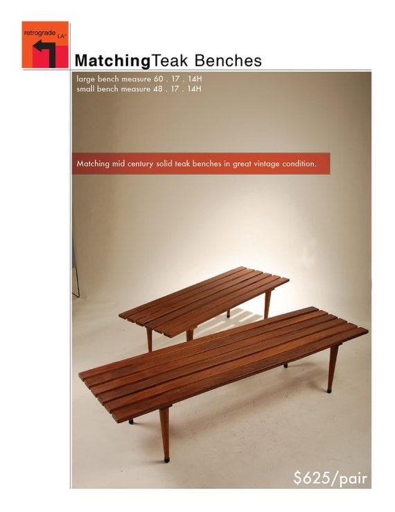 Pair of Danish Teak Benches