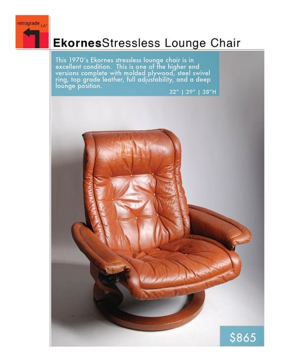 Ekornes Streeless Lounge Chair Recliner 1970's in Brown Leather