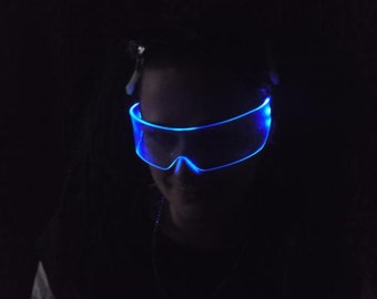 The Original Illuminated Cyber goth visor Neon Blue