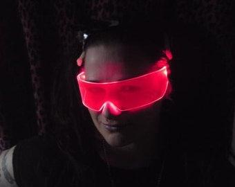 The Original Illuminated Cyber goth visor Neon Red