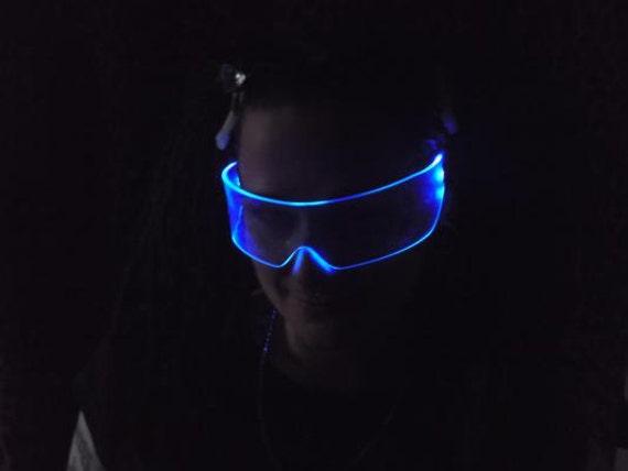 The Original Illuminated Cyber goth visor Neon Blue