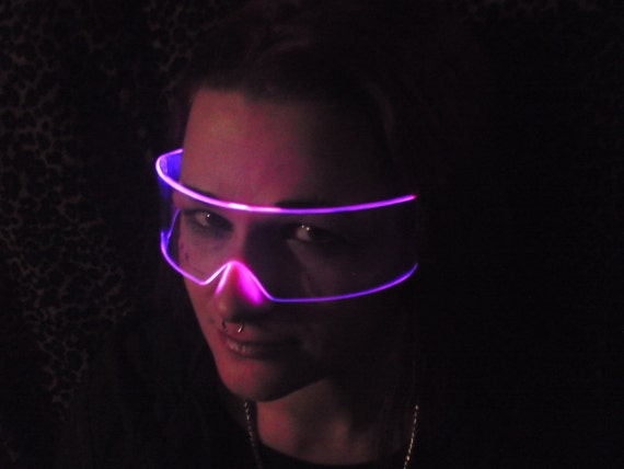 The Original Illuminated Cyber goth visor Clear/Pink