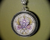 Lovely Long Silver Necklace with Water Color Iris Pendant