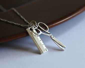 Scissors and Ruler Charm Necklace- Back to School Jewelry- Sewing Machine Scissors and Straight Edge