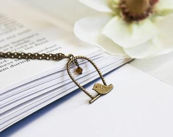 Baby Bird Necklace- Vintage Bronze Charm Jewelry- Amber Brown Swarovski Crystal Bead