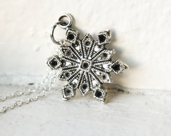 Snowflake Necklace- 925 Sterling Silveror silver tone Chain- Cold Winter Fashion Charm Jewelry Necklace- December